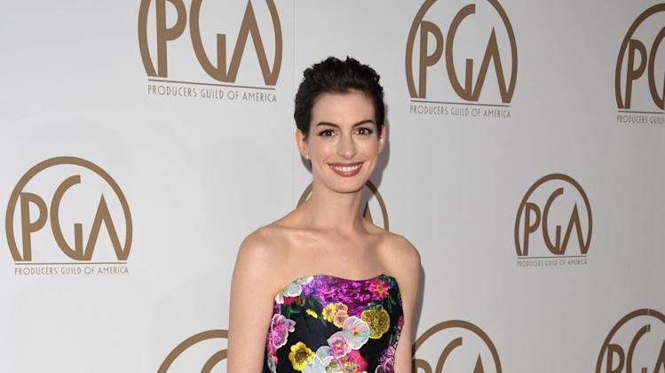 Anne Hathaway arrives at the 24th Annual Producers Guild Awards at the Beverly Hilton Hotel on Saturday Jan. 26, 2013, in Beverly Hills, Calif. (Photo by John Shearer/Invision/AP Images)