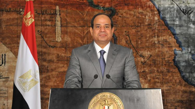 "A handout picture released by the Egyptian Presidency on July 7, 2014 shows Egypt's President Abdel Fattah al-Sisi giving a speech in Cairo in which he said a decision to raise fuel prices was ""bitter medicine"" that should have been taken"