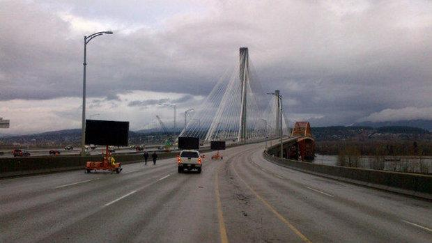 The Port Mann Bridge officially opened to eight lanes of traffic on Saturday.