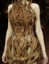 A model wears a creation by Dutch fashion designer Iris van Herpen as part of her Women's Spring Summer 2012 Haute Couture fashion collection presented in Paris, Monday, Jan. 23, 2012. (AP Photo/Jacques Brinon)