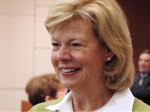 U.S. Sen. Tammy Baldwin, D-Wis., smiles after an hour-long discussion with students and others on Wednesday, April 23, 2014, at Marquette University in Milwaukee. Baldwin touted the successes of the n