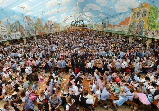 The Oktoberfest festival tent is open at the Theresienwiese festival grounds in Munich, southern Germany