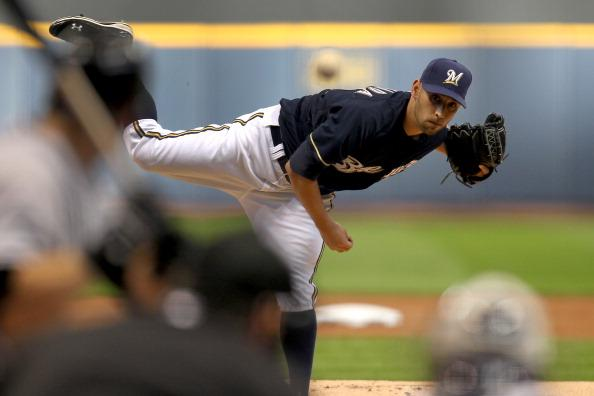 Marco Estrada #41 of the Milwaukee Brewers pitches against the Colorado Rockies during the game at Miller Park on April 21, 2012 in Milwaukee, Wisconsin. (Photo by Mike McGinnis/Getty Images)