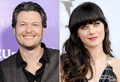 Blake Shelton, Zooey Deschanel | Photo Credits: Jon Kopaloff/FilmMagic, Gregg DeGuire/FilmMag