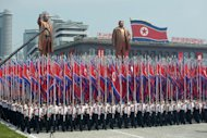 A parade in Kim Il-Sung square in Pyongyang on Saturday to mark the 60th anniversary of the Korean war armistice. North Korea staged an intimidating parade of military muscle and patriotic fervour Saturday, aimed at rallying support around leader Kim Jong-Un on the 60th anniversary of the armistice that ended the Korean War