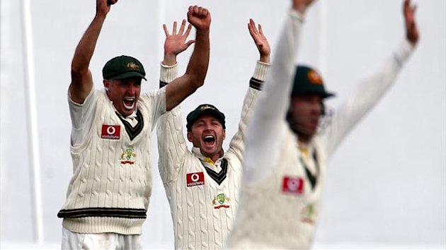 Australia's Michael Hussey (L), captain Michael Clarke and Phil Hughes (Reuters)