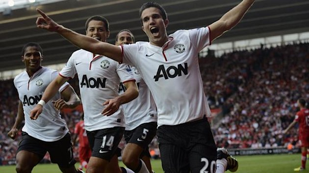Manchester United's Robin van Persie (front) celebrates after scoring a hat-trick against Southampton