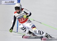 Germany's Viktoria Rebensburg competes in the 1st run of the FIS Alpine Ski World Cup women's giant slalom in Ofterschwang, southern Germany. Rebensburg won the giant slalom for her sixth World Cup victory and third of the season as she consolidated her place at the top of the discipline's season standings