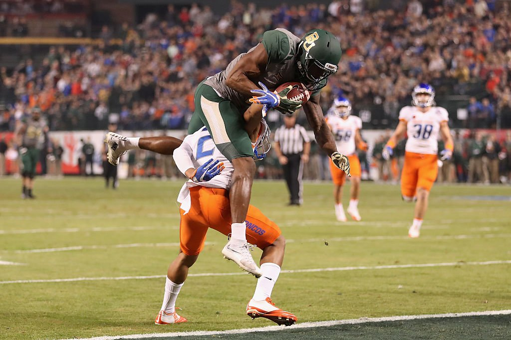 Baylor wide receiver KD Cannon made an acrobatic catch for one of his two touchdowns in the Cactus Bowl. (Photo by Christian Petersen/Getty Images)