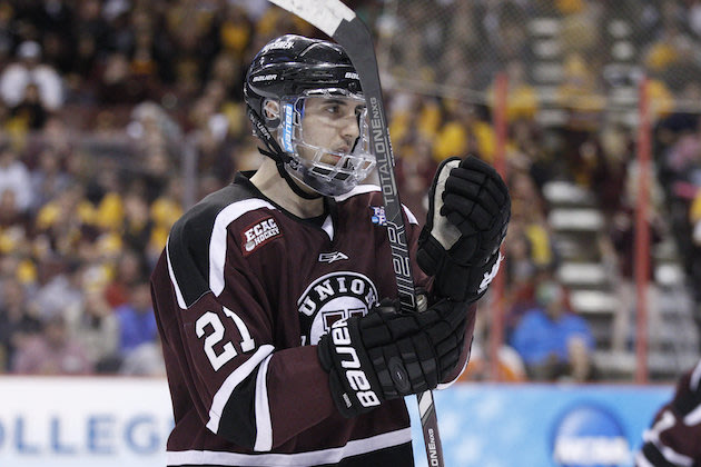 Union's Mike Vecchione looks on during the third period of an NCAA men's college hockey Frozen Four tournament game against Minnesota, Saturday, April 12, 2014, in Philadelphia. Union College won 7-4. (AP Photo/Chris Szagola)
