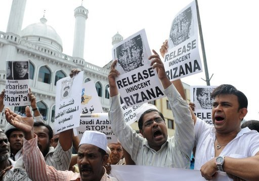 Sri Lankan activists demand the release of housemaid Rizana Nafeek as they march towards the Saudi Arabian embassy in Colombo on July 8, 2011. Saudi Arabia has beheaded the Sri Lankan maid after she was convicted of murdering her employer's baby, despite worldwide calls for a stay of execution