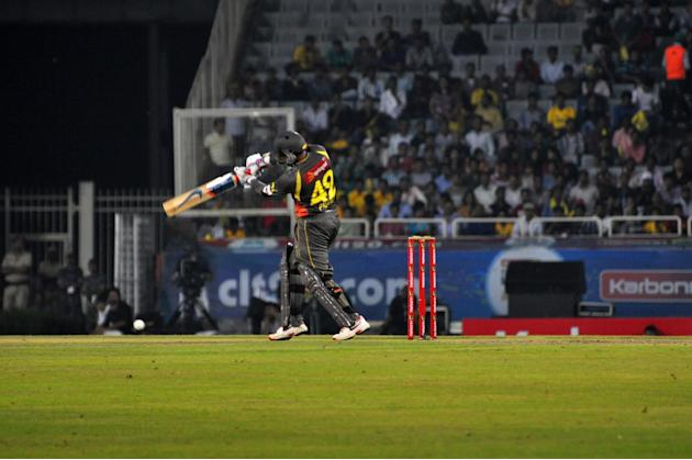 Sunrisers Hyderabad batsman Thisara Perera in action against Chennai Super Kings at Champions League Twenty-20 Match at Jharkhand State Cricket Association (JSCA) International Cricket Stadium in Ranc