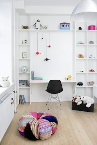 Whimsical White Workspace with Shelves