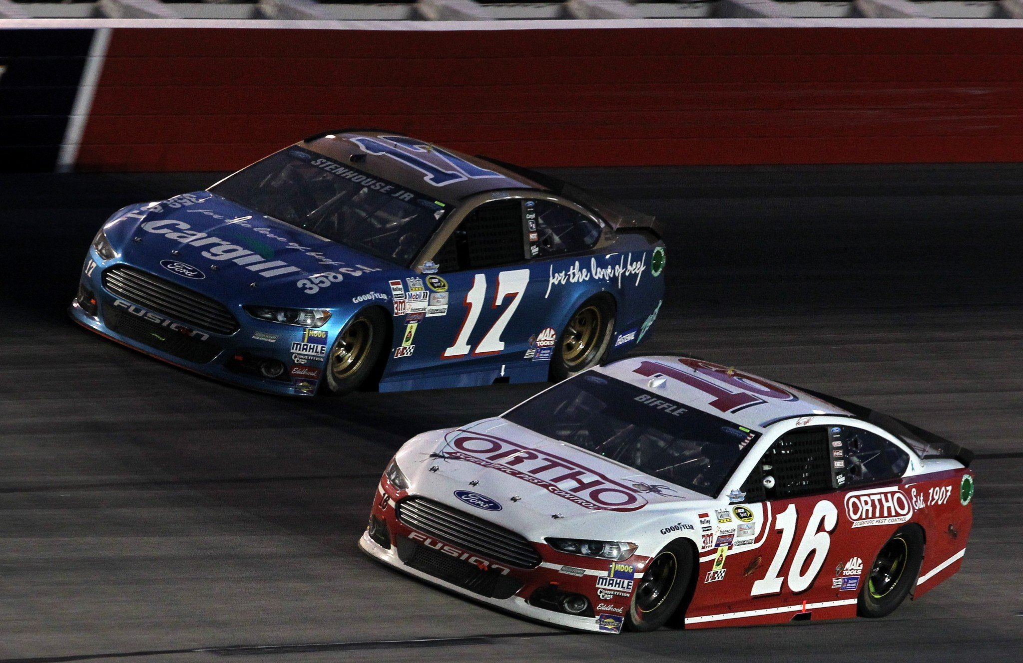 Ricky Stenhouse Jr. (L) led the way for Roush with a 21st-place finish in the 2016 points standings. (Getty)