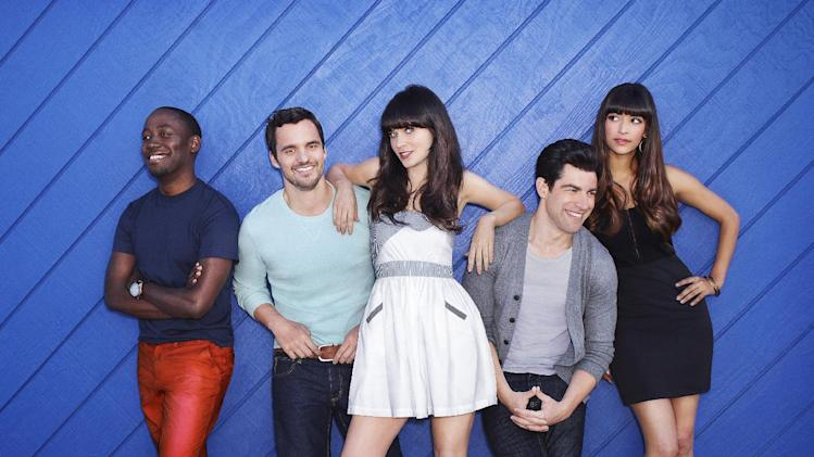 "FILE - In this publicity file photo released by FOX, ""New Girl"" cast from left, Lamorne Morris, Jake Johnson, Zooey Deschanel, Max Greenfield and Hannah Simone are shown.  (AP Photo/FOX, Dewey Nicks, File)"