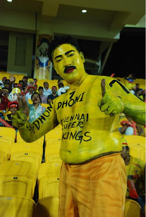Fans at MA Chidambaram Stadium during the match between Chennai Super Kings and Rajasthan Royals on April 22, 2013. (Photo: IANS)