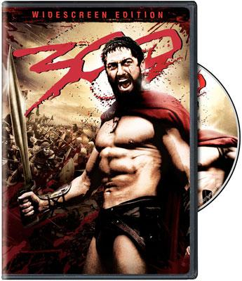 The box art from the widescreen edition DVD of Warner Bros. Pictures' 300