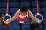 "Japan's gymnast Kohei Uchimura compete on the rings during the London Olympics artistic gymnastics men's qualification on July 28. We were all more or less thinking about how the Chinese were going to perform, so it might have affected our performance,"" he said"