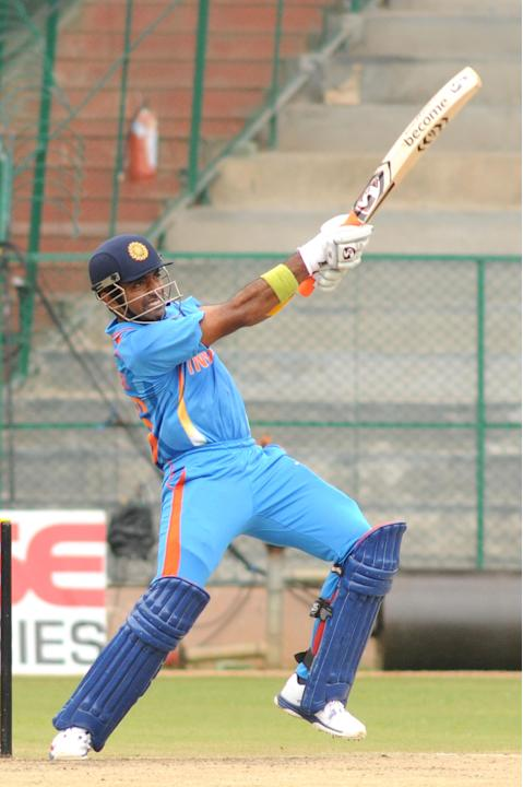 Indian A team Player Robbin Uttappa in action against West Indies A team, during  India A team v/s West Indies A team unofficial T-20 cricket match at Chinnaswamy Stadium, in Bangalore on Saturday 21s