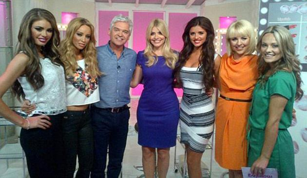 Celebrity photos: This week, the cast of TOWIE made an appearance on This Morning where they posed for this picture with Phillip Schofield and Holly Willoughby.