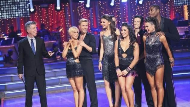 The four couples get ready to compete in the cha cha cha round on the 'Dancing' finals, May 20, 2013 -- ABC