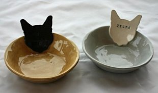 Personalized Kitty Cat and Dog Bowl Dishes