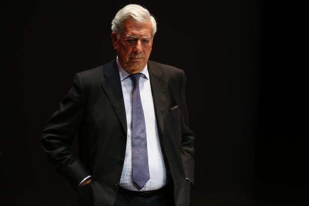 Peruvian writer Mario Vargas Llosa attends a forum in support of Venezuela's opposition in Caracas