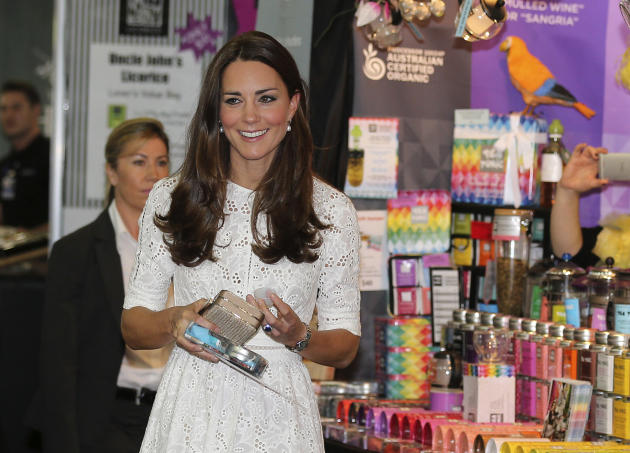 Catherine, Britain's Duchess of Cambridge, walks along the arts and crafts pavilion during a visit to the Royal Easter Show in Sydney
