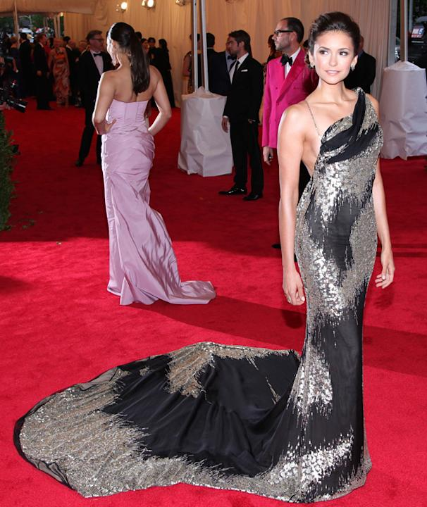 Nina Dobrev wore a Donna Karan Atelier dress / WENN