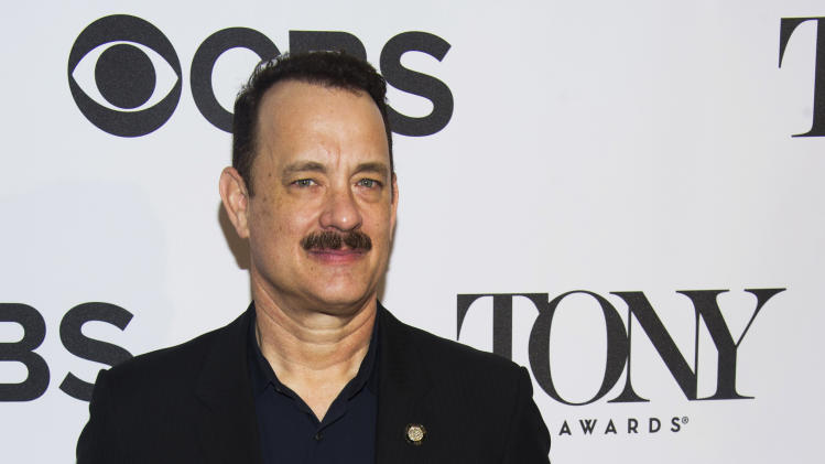 "Tom Hanks attends the 2013 Tony Awards Meet the Nominess press reception on Wednesday, May 1, 2013 in New York. Hanks was nominated for a Tony award for best leading actor in a play, Tuesday, for his role in ""Lucky Guy."" (Photo by Charles Sykes/Invision/AP)"