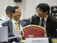 Japan's Commissioner Kenji Kgawa (R) speaks with Republic of Korea's Commissioner Joon-Suk Kang during the 64th Annual meeting of the International Whaling Commission in Panama City