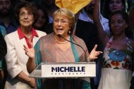 Chilean presidential candidate Michelle Bachelet gives a speech after winning Chile's Presidential elections, in Santiago, December 15, 2013. REUTERS/Ivan Alvarado
