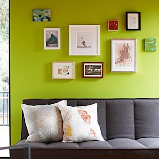Balance the bright wall with a grounded color
