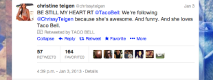 Marketing Karma: Taco Bell Teaches Us Selflessness image Christine Teigen on top of IN this case