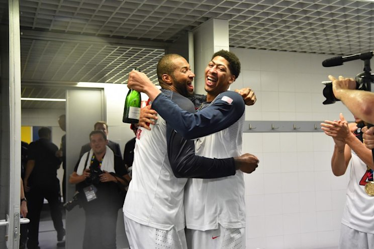 Could DeMarcus Cousins and Anthony Davis be popping bottles together again someday? (Getty Images)