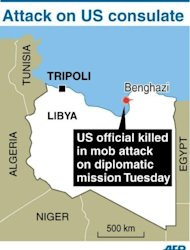 Map locating Benghazi in Libya. An armed mob protesting over a film deemed offensive to Islam attacked the US consulate in Benghazi killing an American, hours after angry Islamists stormed Washington's embassy in Cairo.