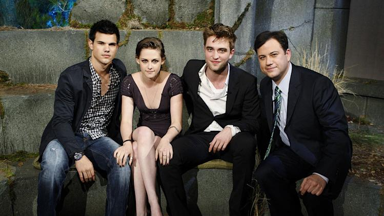 "Jimmy Kimmel and ""The Twilight Saga"" stars Robert Pattinson, Kristen Stewart, and Taylor Lautner on ""Jimmy Kimmel Live's Twilight Saga: Total Eclipse of the Heart."""