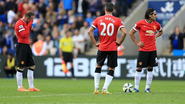 Manchester United's Wayne Rooney (left), Robin Van Persie and Radamel Falcao (right)