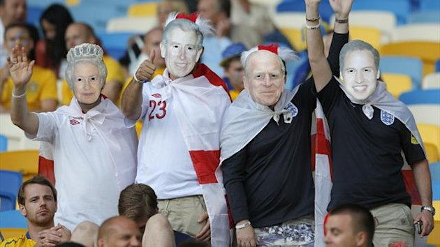 Euro 2012 England fans with royal family masks