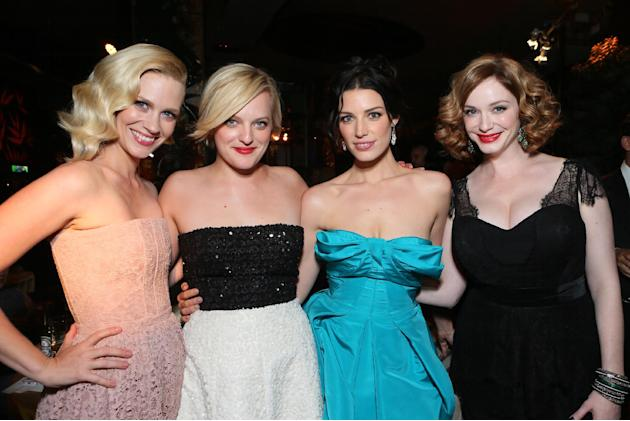 IMAGE DISTRIBUTED FOR AMC - From left, January Jones, Elisabeth Moss, Jessica Pare, and Christina Hendricks attend the AMC, IFC, Sundance Channel Emmy After Party, on Sunday, September 22, 2013 in Wes