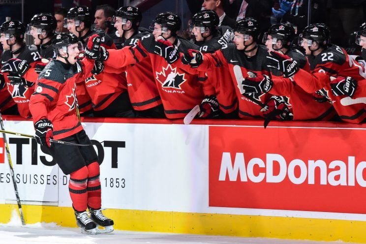 MONTREAL, QC - JANUARY 05: Thomas Chabot #5 of Team Canada celebrates his first period goal with teammates on the bench during the 2017 IIHF World Junior Championship gold medal game against Team United States at the Bell Centre on January 5, 2017 in Montreal, Quebec, Canada. (Photo by Minas Panagiotakis/Getty Images)