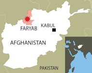 Map locatng the Afghan province of Faryab where a Taliban-type improvised bomb has ripped through a bazaar in a remote town, killing seven civilians and injuring eight others, according to police