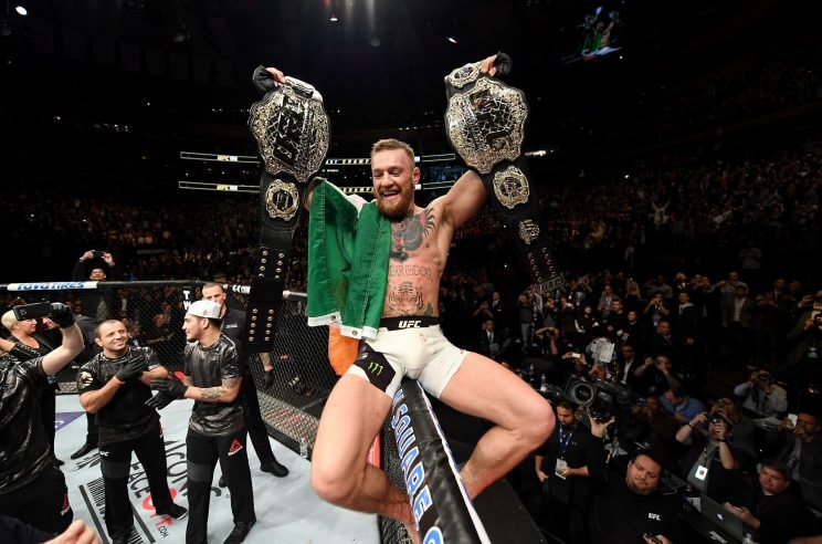 Conor McGregor of Ireland celebrates his KO victory over Eddie Alvarez of the United States in their lightweight championship bout during the UFC 205 event at Madison Square Garden on November 12, 2016 in New York City. (Photo by Jeff Bottari/Zuffa LLC/Zuffa LLC via Getty Images)