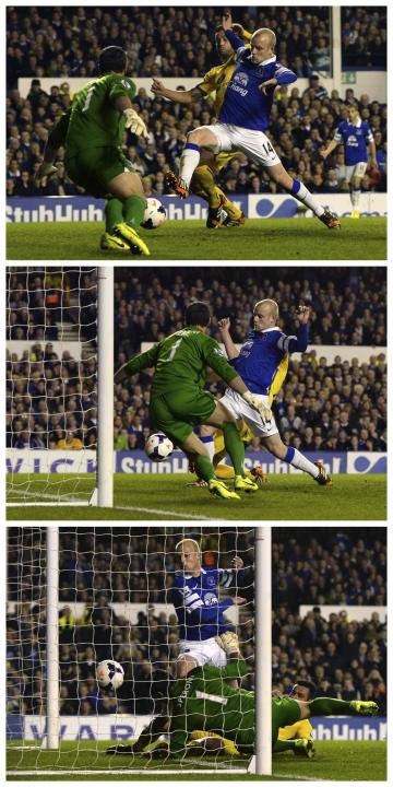 A combination of pictures shows Everton's Naismith scoring a goal against Crystal Palace during their English Premier League soccer match at Goodison Park in Liverpool