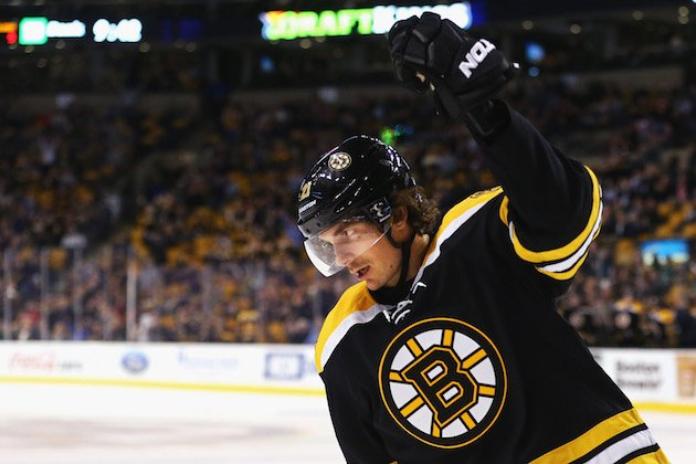 BOSTON, MA - FEBRUARY 22: Loui Eriksson #21 of the Boston Bruins celebrates after scoring against the Columbus Blue Jackets during the third period at TD Garden on February 22, 2016 in Boston, Massachusetts.The Blue Jackets defeat the Bruins 6-4. (Photo by Maddie Meyer/Getty Images)