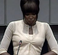 A picture grab shows supermodel Naomi Campbell answering questions at the UN-backed Special Court for Sierra Leone in Leidschendam on August 5, 2010. Liberian ex-leader Charles Taylor has been convicted of arming rebels who killed and mutilated thousands in Sierra Leone, in a historic verdict for international justice