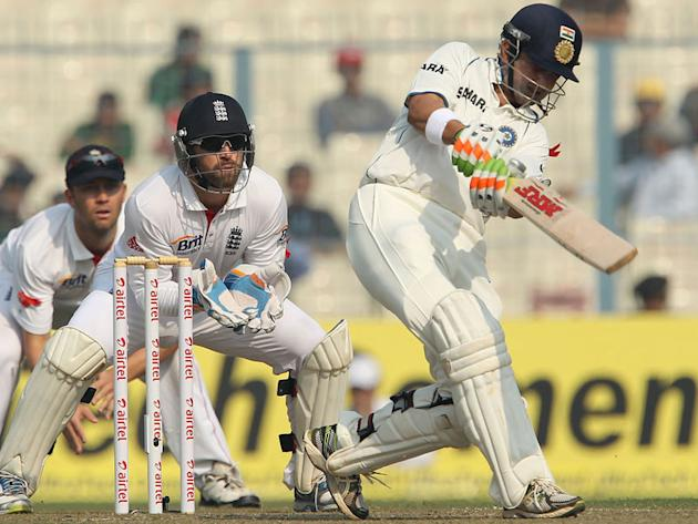 Gautam Gambhir drives on Day 4 of the Eden Gardens Test match against England.