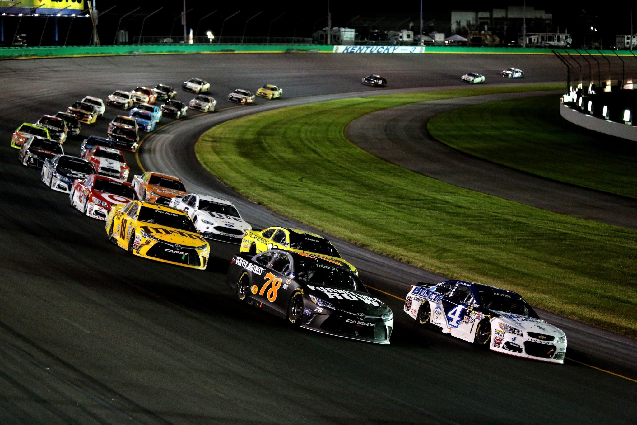 Martin Truex Jr. won at Charlotte earlier this season while Kevin Harvick was second (Getty).
