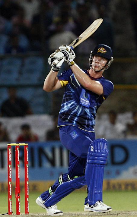 Otago Volts player in action during CLT20 match between Rajasthan Royals and Otago Volts at Sawai Mansingh Stadium in Jaipur on Oct. 1, 2013. (Photo: IANS)