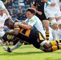 Simon McIntyre, pictured with the ball, scored Wasps' opening try